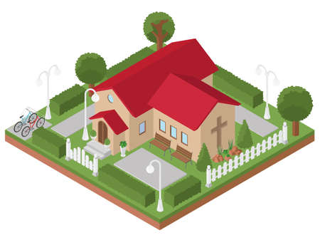 Religious architecture. Flat 3d isometric church and city map elements such as building, park, transport, nature isolated on white. Build your own infographics collection. Vector illustration Illustration