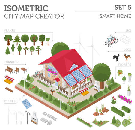 Flat 3d isometric smart home and city map constructor elements such as building, ,  garden, renewable energy isolated on white. Build your own infographic collection. Vector illustration