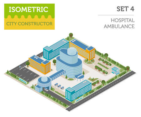 Flat 3d isometric clinic complex and city map constructor elements such as building, hospital, ambulance, pharmacy,  garden isolated on white. Build your own infographic collection. Vector illustration