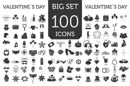 Conjunto de iconos de día de San Valentín. Elementos de diseño romántico aislados en blanco. Ilustración del vector