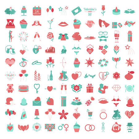 diamond letters: Valentine`s day icon set. Romantic design elements isolated on white. Vector illustration