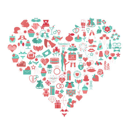 Valentine`s day icon set. Romantic design elements isolated on white. Vector illustration
