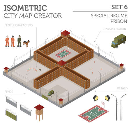 penitentiary: Flat 3d isometric special regime prison, jail for city map constructor isolated on white. Build your own infographic collection. Vector illustration