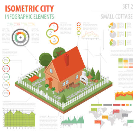 lawn chair: Flat 3d isometric house and city map constructor elements such as building, bbq, garden, nature isolated on white. Build your own infographics collection. Vector illustration Illustration