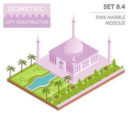 minaret: Flat 3d isometric islamic  mosque and city map constructor elements such as building, minaret, garden isolated on white. Build your own infographic collection. Vector illustration