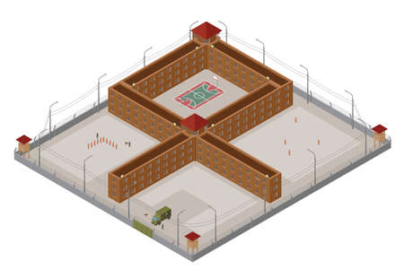pokey: Flat 3d isometric special regime prison, jail for city map constructor isolated on white. Build your own infographic collection. Vector illustration