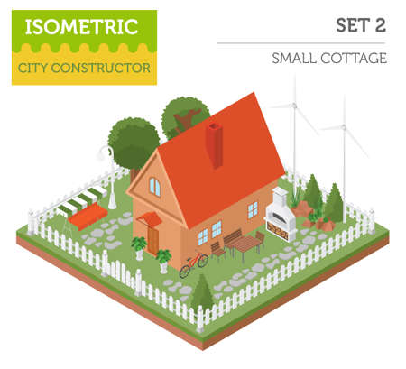 Flat 3d isometric house and city map constructor elements such as building, bbq, garden, nature isolated on white. Build your own infographics collection. Vector illustration Illustration