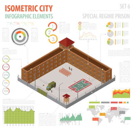 Flat 3d Isometric Special Regime Prison, Jail For City Map ...