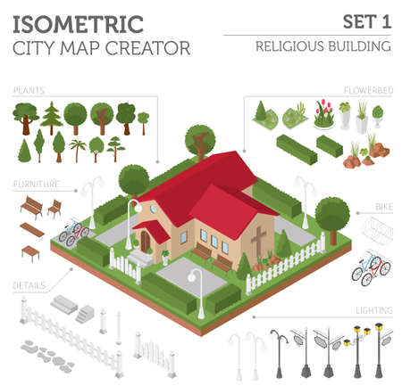 creator: Religious architecture. Flat 3d isometric church and city map creator elements such as building, park, transport, nature isolated on white. Build your own infographics collection. Vector illustration