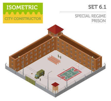 Flat 3d isometric special regime prison, jail for city map constructor isolated on white. Build your own infographic collection. Vector illustration