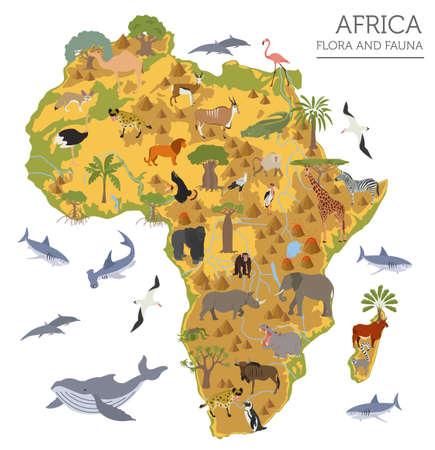 Elementos constructor planos de flora y fauna de África. Animales, aves y vida marina aislados en blanco gran conjunto. Construya su propia colección de infografías de geografía.