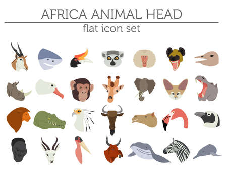 Flat Africa flora and fauna map constructor elements. Animals, birds and sea life isolated on white big set.