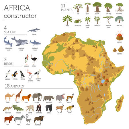 Flat Africa flora and fauna map constructor elements. Stock Vector - 72523739