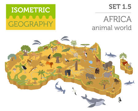 Flat 3d isometric Africa flora and fauna map constructor elements. Illustration