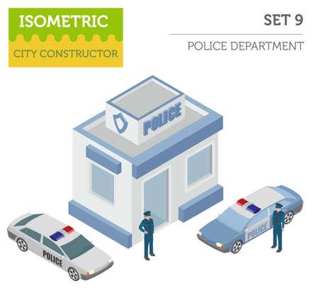 平らな 3 d アイソ メトリック警察および都市地図コンス トラクターの要素。