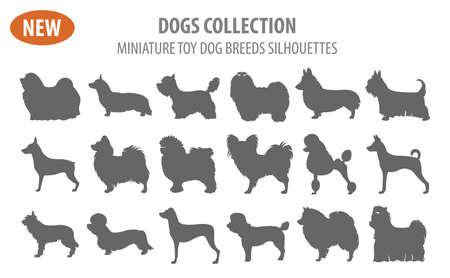 Ilustración de un lindo perro de juguete miniatura razas, icono conjunto aislado en blanco. Estilo plano. Ilustración del vector