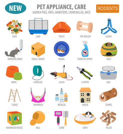 Pet appliance icon set flat style isolated on white. Rodents care collection. Create own infographic about guinea pig, rat, hamster, chinchilla, mouse, rabbit. Vector illustration Illustration