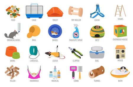 Pet Appliance Icon Set flache Stil isoliert auf weiß. Nagetiere Pflege Sammlung. Erstellen Sie eigene Infografik über Meerschweinchen, Ratte, Hamster, Chinchilla, Maus, Kaninchen. Vektor-Illustration Standard-Bild - 78504603