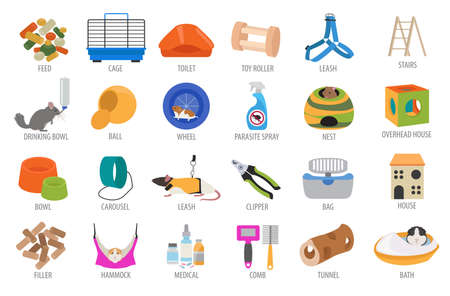 toy toilet bowl: Pet appliance icon set flat style isolated on white. Rodents care collection. Create own infographic about guinea pig, rat, hamster, chinchilla, mouse, rabbit. Vector illustration Illustration