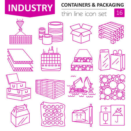 delivery truck: Containers and packaging icon set. Thin line design isolated on white. Create your industrial infographics collection. Vector illustration