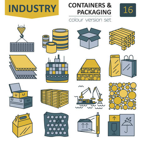 Containers and packaging icon set. Thin line design isolated on white. Create your industrial infographics collection. Vector illustration