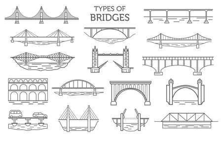 Typen bruggen. Lineaire stijlenset. Mogelijk gebruik in infographic ontwerp. Vector illustratie