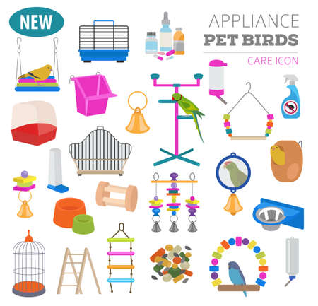 jay: Pet appliance icon set flat style isolated on white. Birds care collection. Create own infographic about parrot, parakeet, canary, thrush, finch, jay bird, starling, amadina, siskin,  toucan, bunting. Vector illustration