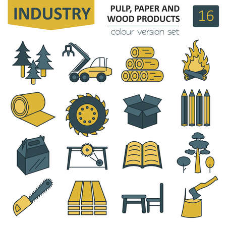 Pulp, paper and wood products icon set.