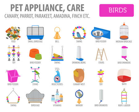 Pet appliance icon set flat style.