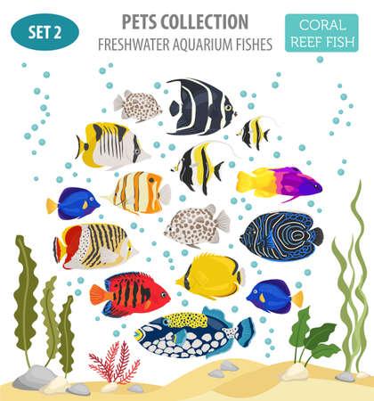 Les poissons d'aquarium d'eau douce reproduisent un style plat isolé sur blanc. Récif de corail. Créez votre propre infographie sur les animaux de compagnie. Illustration vectorielle Banque d'images - 84894277