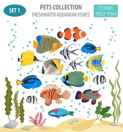 Poisson d'aquarium d'eau douce reproduit icon set style plat isolé sur blanc. Récif de corail. Créez votre propre infographie sur animal de compagnie. Illustration vectorielle Banque d'images - 84895661