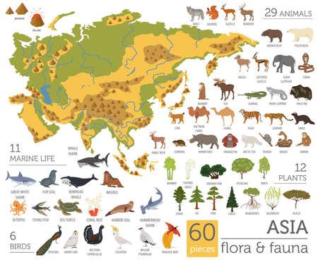フラット アジア特有の動植物は、コンス トラクターの要素をマップします。動物、鳥、海の生活の大きな白で隔離を設定します。地理インフォ グ