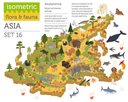 Isométrique 3d éléments de constructeur de carte de flore et de la faune asiatiques. Animaux, oiseaux et vie marine isolé sur grand ensemble blanc. Construisez votre propre collection d'infographie de géographie. Illustration vectorielle
