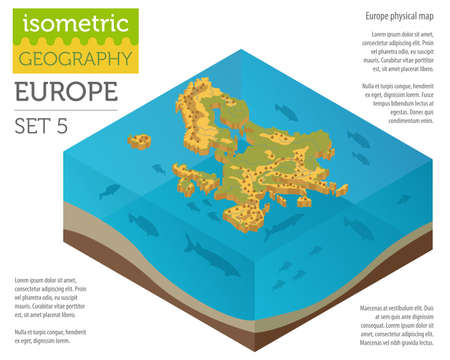 Isometric 3d Europe physical map constructor elements on the water surface. Build your own geography infographics collection. Vector illustration Ilustrace