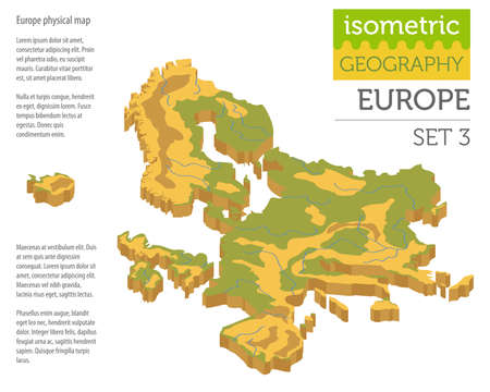 Isometric 3d Europe physical map constructor elements isolated on white. Build your own geography infographics collection. Vector illustration