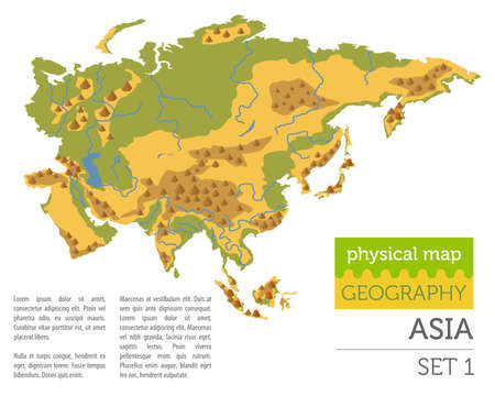 Flat Asia physical map constructor elements isolated on white. Build your own geography infographics collection. Vector illustration