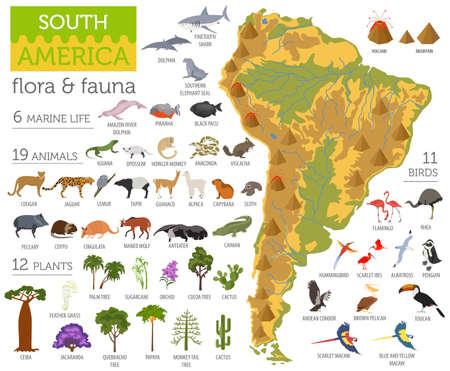 Südamerika Flora und Fauna Karte, flache Elemente. Tiere, Vögel und Meeresleben groß eingestellt. Erstellen Sie Ihre Geographie-Infografiken-Sammlung. Vektor-Illustration