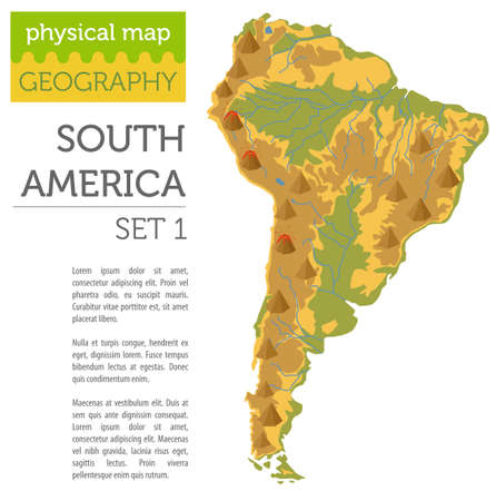 South America physical map elements. Build your own geography info graphic collection. Vector illustration