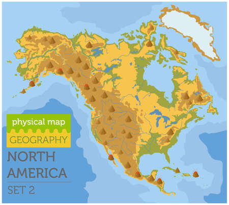 North America physical map elements. Build your own geography info graphic collection. Vector illustration Illustration