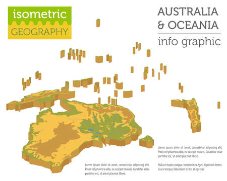 Isometric 3d Australia and Oceania physical map elements. Build your own geography info graphic collection. Vector illustration Illustration
