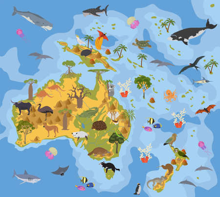 Australia and Oceania flora and fauna map, flat elements. Animals, birds and sea life big set. Build your geography infographics collection. Vector illustration Ilustração