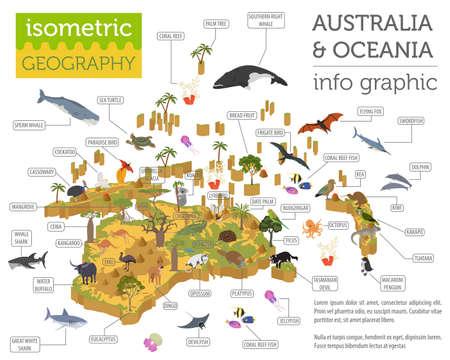 Léments de carte de flore et de faune 3d isométrique Australie et Océanie. Les animaux, les oiseaux et la vie marine. Construisez votre propre collection d'infographie de géographie. Illustration vectorielle Banque d'images - 90180332