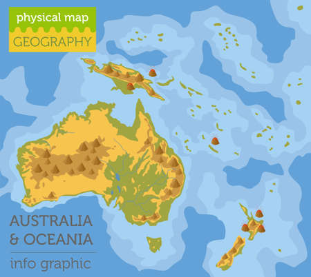 Australia and Oceania physical map elements. Build your own geography info graphic collection. Vector illustration Illustration