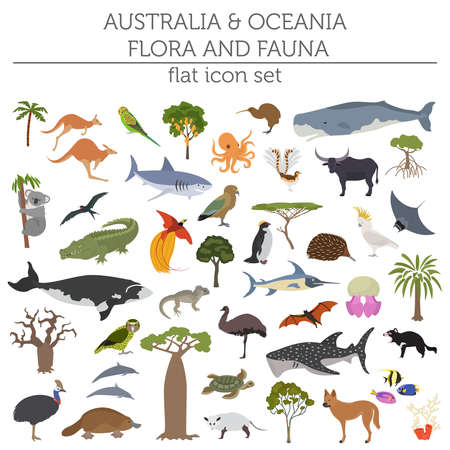 Australia and Oceania flora and fauna, flat elements. Animals, birds and sea life big set. Build your geography infographics collection. Vector illustration