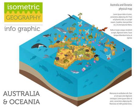 Éléments de carte de flore et de faune 3d isométrique Australie et Océanie. Les animaux, les oiseaux et la vie marine. Construisez votre propre collection d'infographie de géographie. Illustration vectorielle
