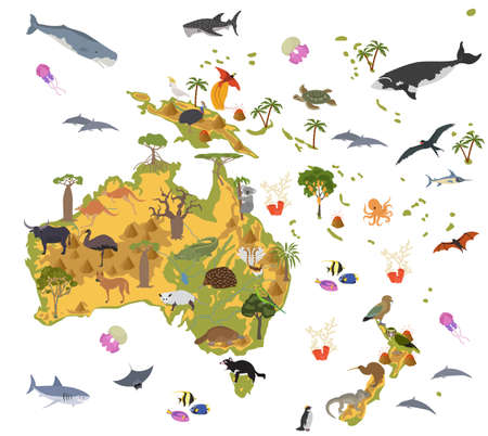Australia and Oceania flora and fauna map, flat elements. Animals, birds and sea life big set. Build your geography infographics collection. Vector illustration 일러스트