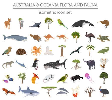 Isométrica 3d flora y fauna de Australia y Oceanía. Animales, pájaros y vida marina. Crea tu propia colección de infografías geográficas. Ilustración vectorial Foto de archivo - 90170737
