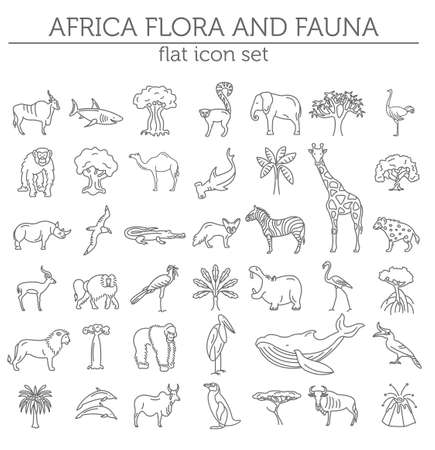 Flat African flora and fauna  elements. Animals, birds and sea life simple line icon set. Vector illustration Çizim