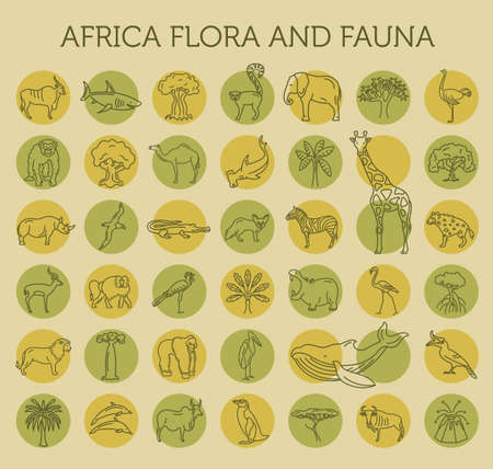 Flat African flora and fauna  elements. Animals, birds and sea life simple line icon set. Vector illustration Illustration