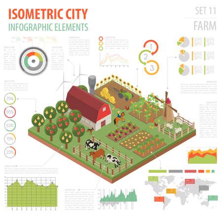 Flache isometrische 3d Ackerland- und Stadtplanerbauerelemente lokalisiert auf Weiß. Bauen Sie Ihre eigene Infografik-Sammlung auf. Vektor-illustration